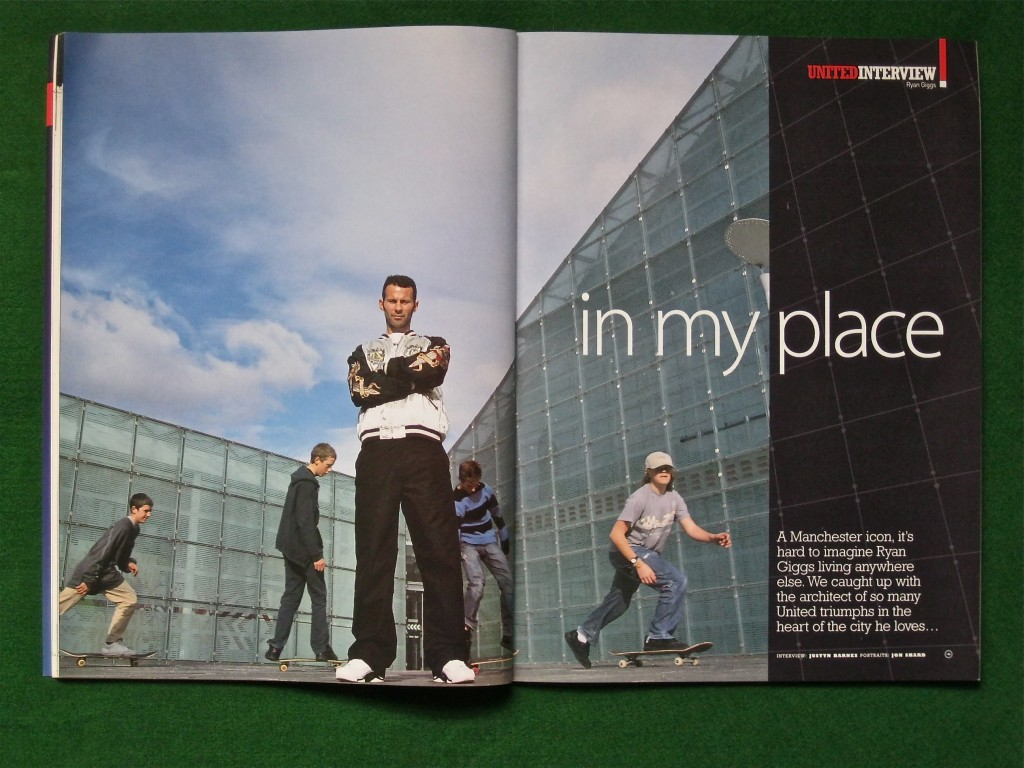 The opening spread of one interview I did with Giggs. the picture was taken by the Urbis building close to his central Manchester home at the time. The skateboarding kids were bunking off school...